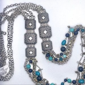 NWT- Chico's Long Silver & Turquoise Necklace